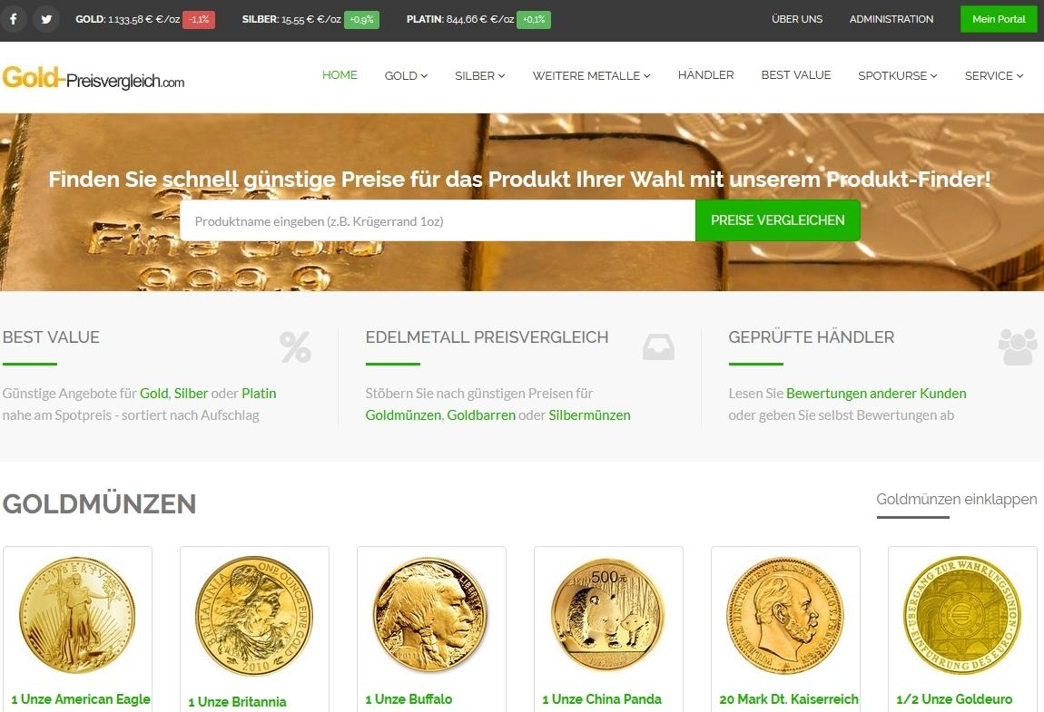 Gold-Preisvergleich.com Screenshot
