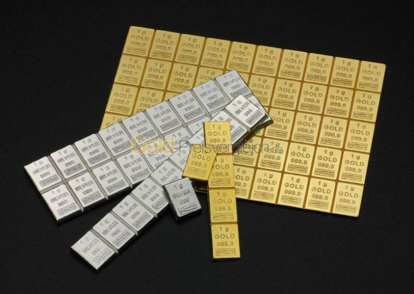 Goldtafelbarren 50 x 1 Heimerle & Meule Valcambi - Zertifikat