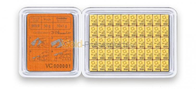 Goldtafelbarren 50 x 1 Gramm - aufgeklappt