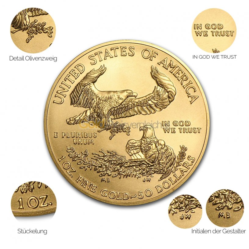 Goldmünze American Eagle - Details des Avers