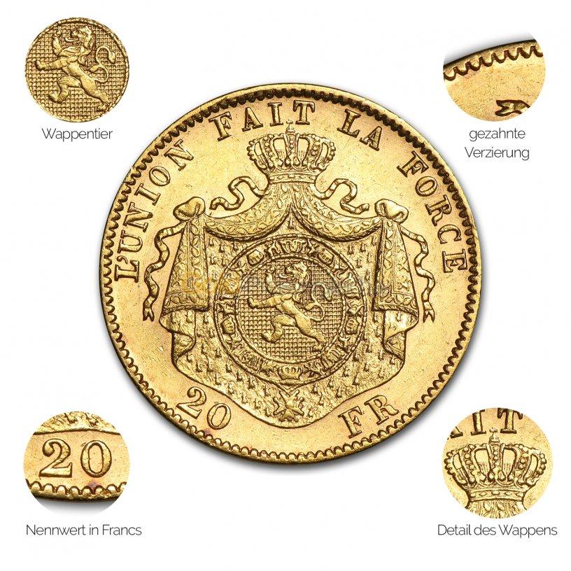 Goldmünze 20 Francs Leopold II - Details des Avers