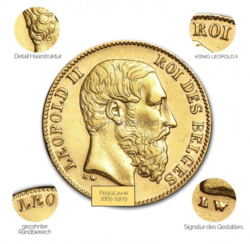 Goldmünze 20 Francs Leopold II - Details des Revers