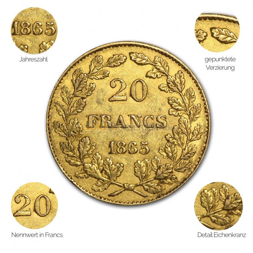 Goldmünze 20 Francs Leopold Premier - Details des Avers