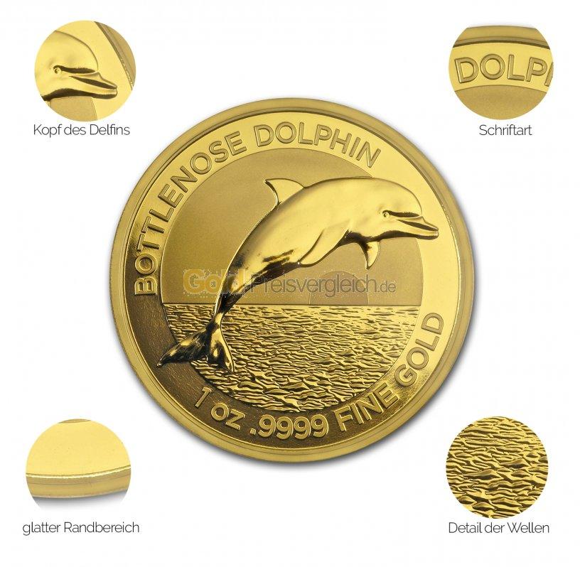 Goldmünze Bottlenose Dolphin - Details des Revers