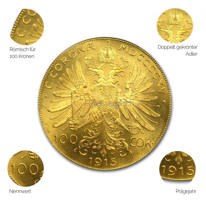 Goldmünze Goldkrone Österreich - Details des Avers