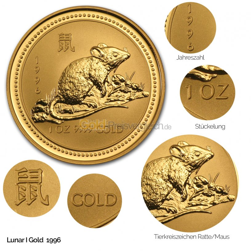 Goldmünze Lunar Serie I - Details des Revers