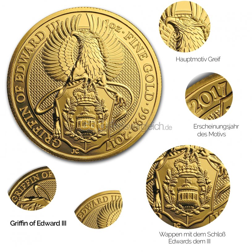 Details der Goldmünze Queen's Beasts - Griffin of Edward III