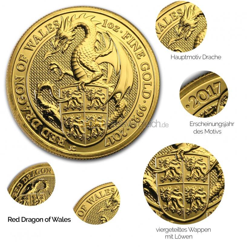 Details der Goldmünze Queen's Beasts - Red Dragon of Wales