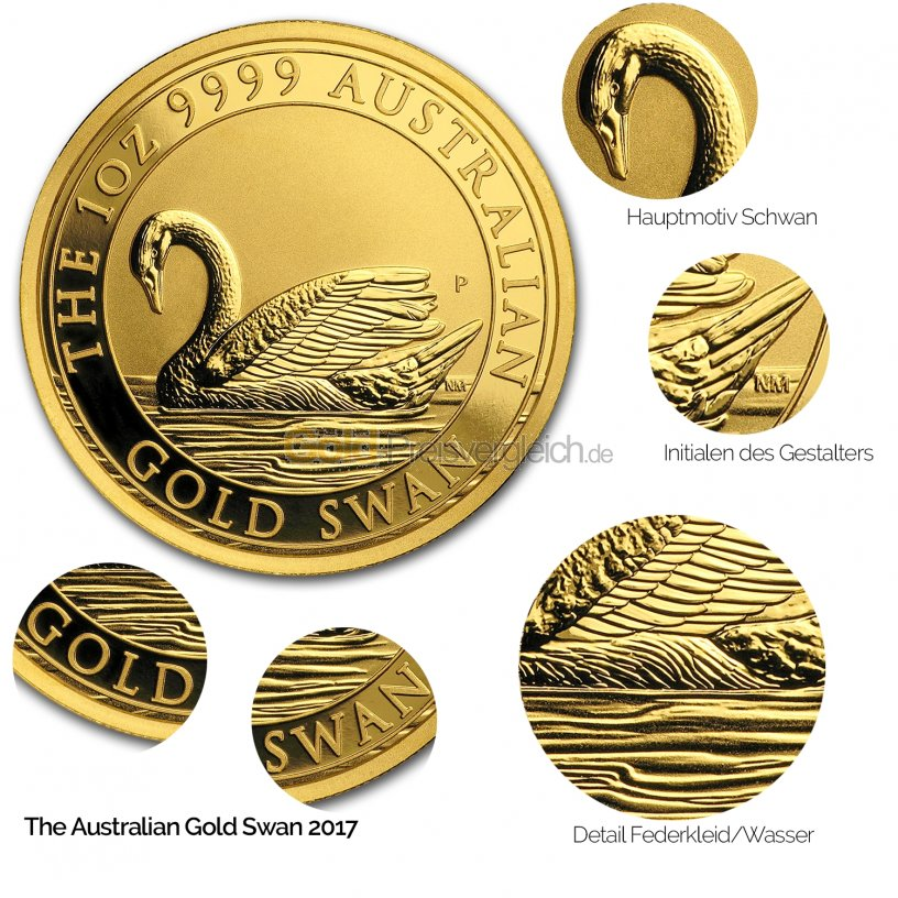 Details der Goldmünze Goldschwan 2017