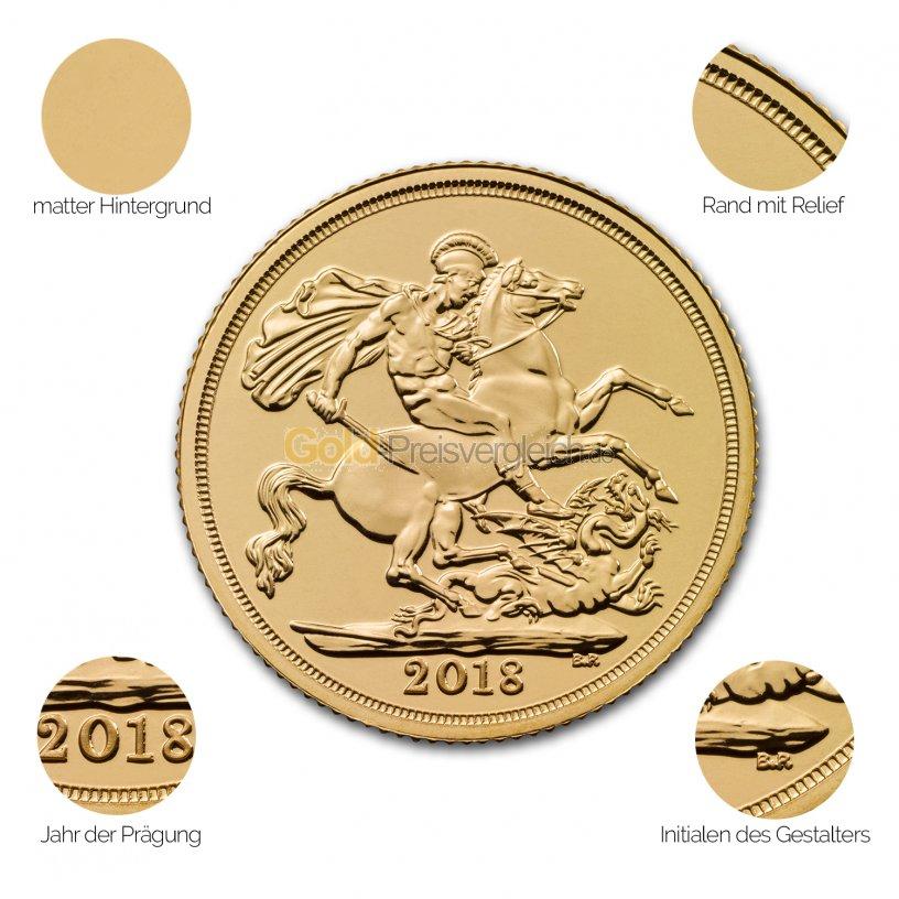 Goldmünze Sovereign - Details des Revers