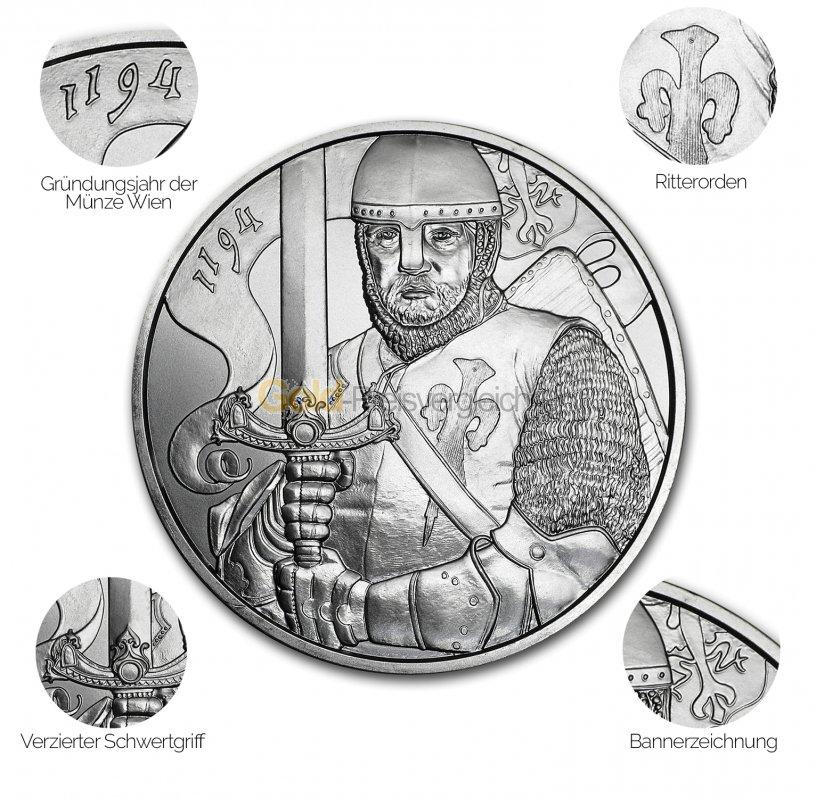 Silbermünze 825 Jahre Münze Wien - Details des Revers