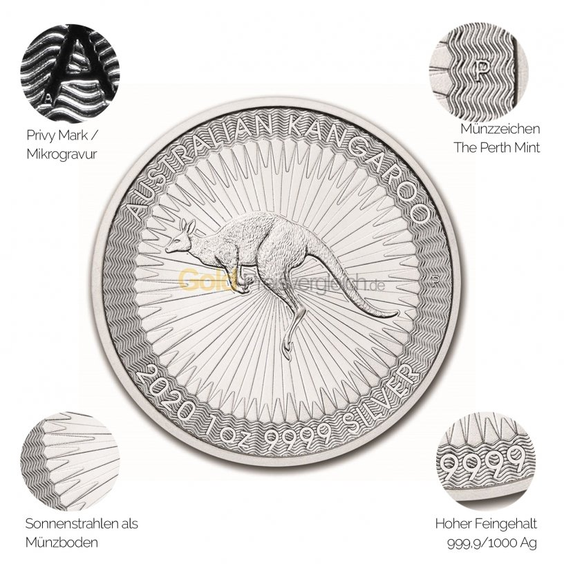 Silbermünze Australian Kangaroo - Details des Revers