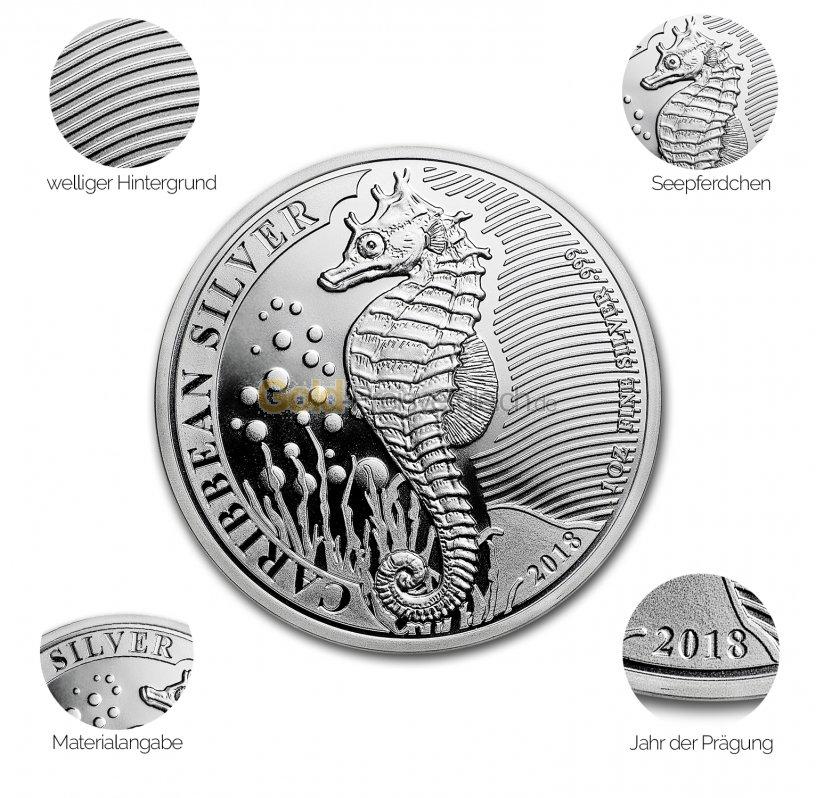 Silbermünze Caribbean Seahorse - Details des Revers