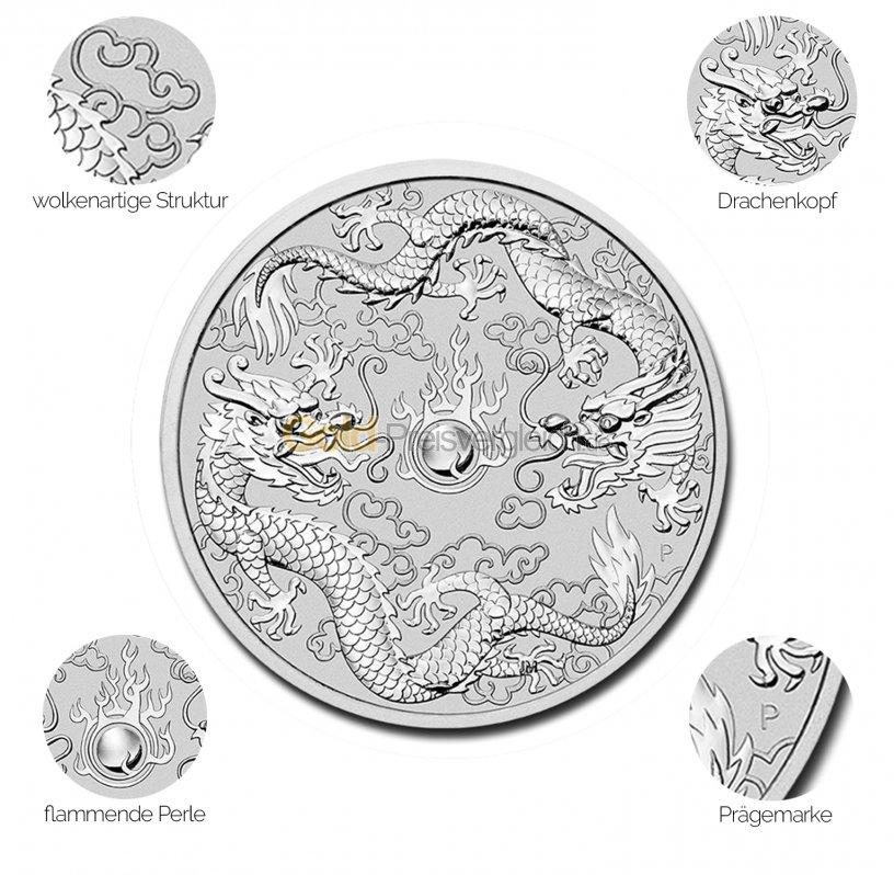 Silbermünze Double Dragon - Details des Revers