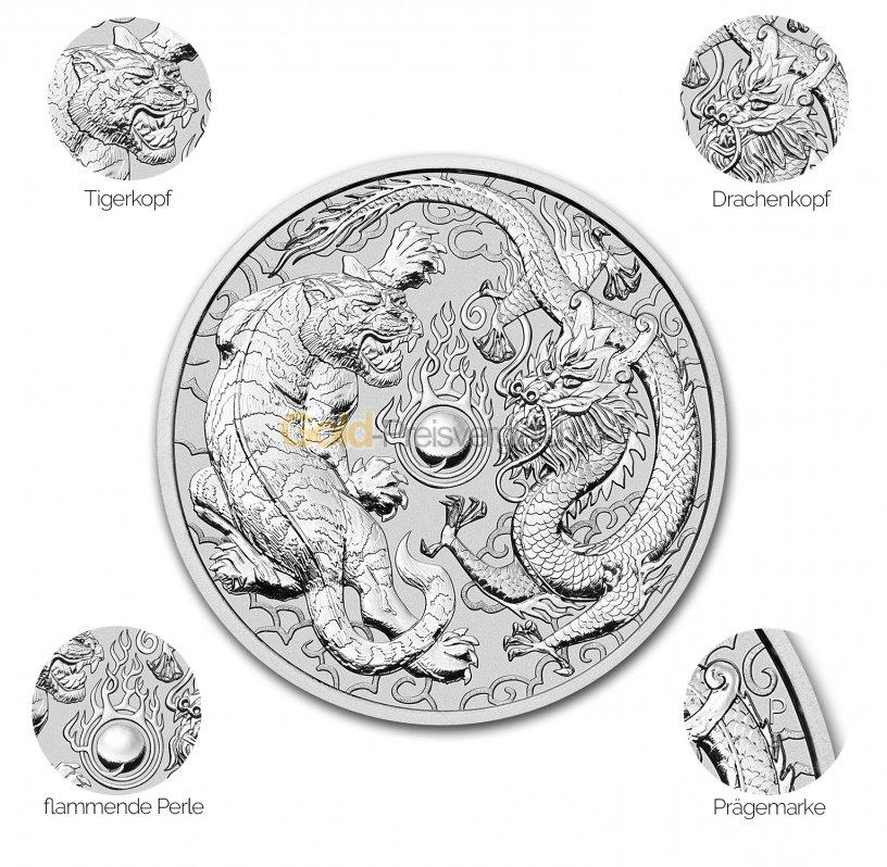 Silbermünze Dragon & Tiger - Details des Revers