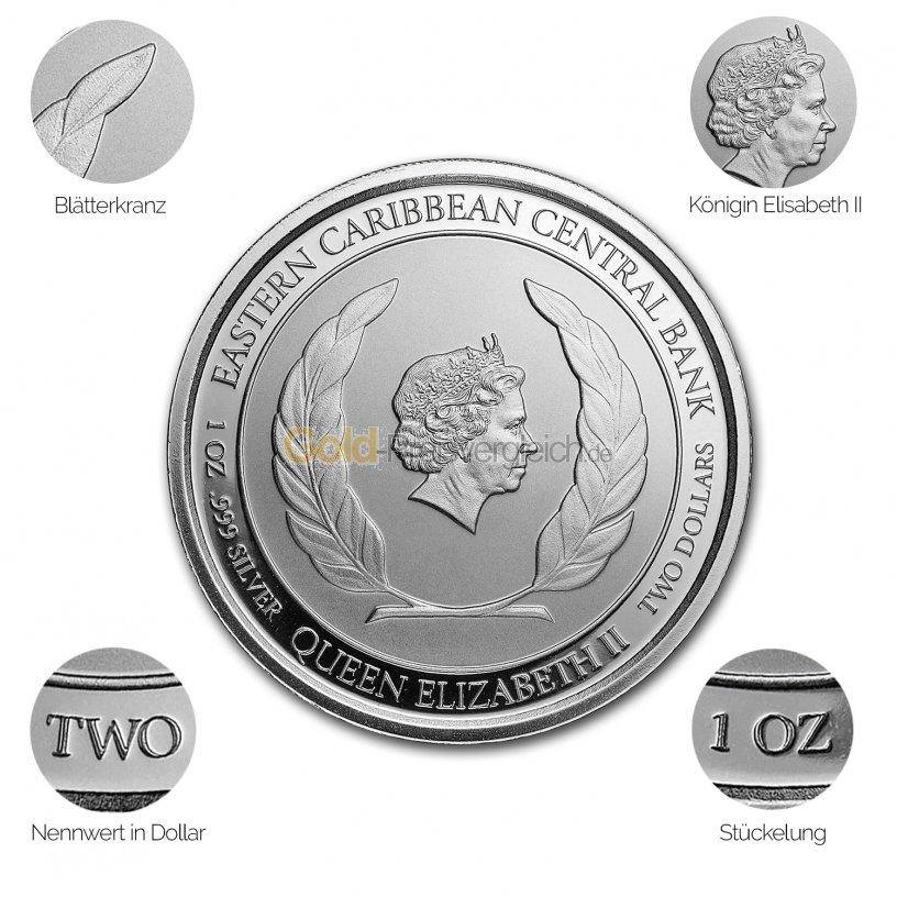 Silbermünze Eastern Caribbean 8 (EC8) Serie - Details des Avers