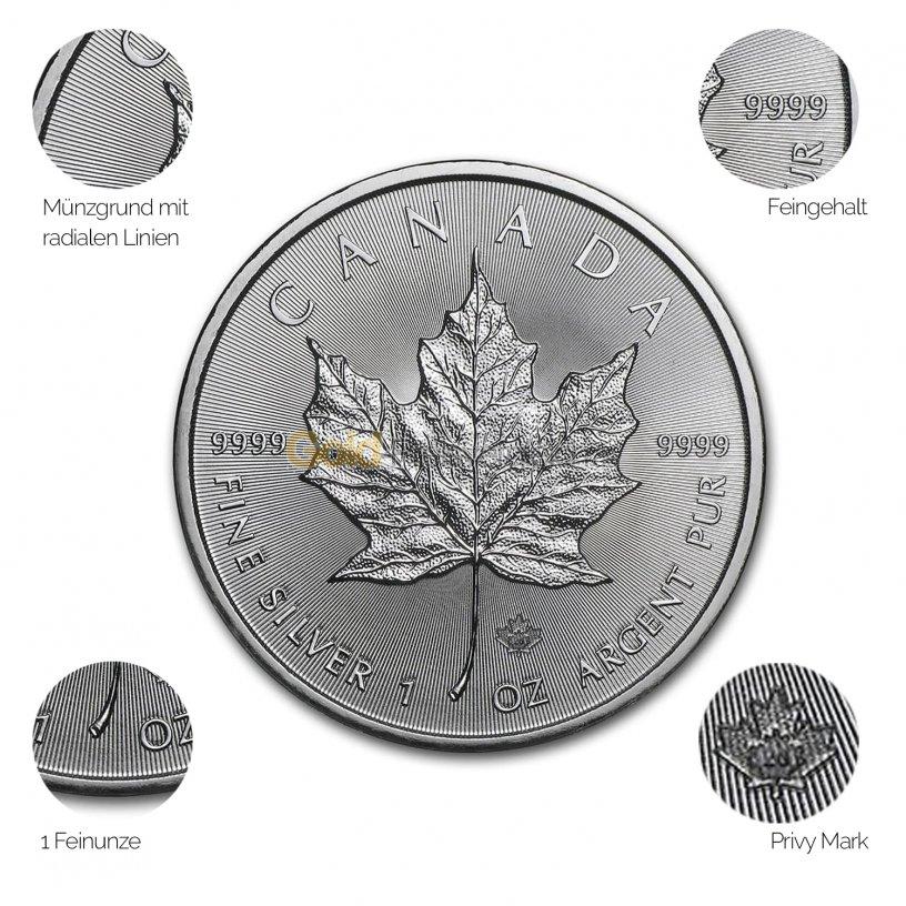 Silbermünze Maple Leaf - Details des Revers