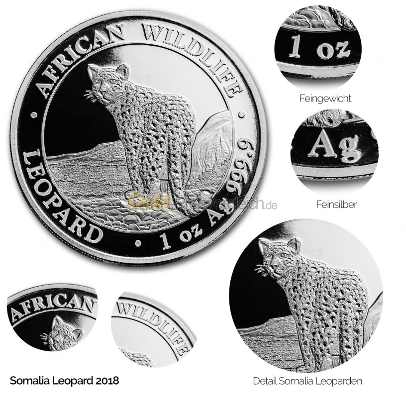 Silbermünze Somalia Leopard 2018 - Details des Revers
