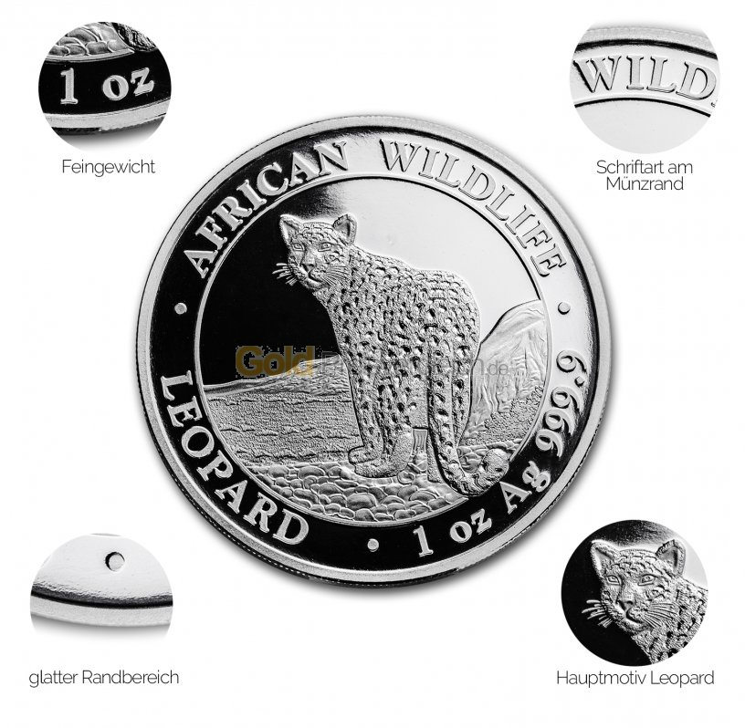 Silbermünze Somalia Leopard - Details des Revers