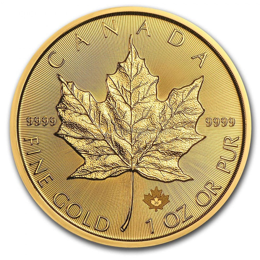 Ahornblatt auf Maple Leaf Goldmünze