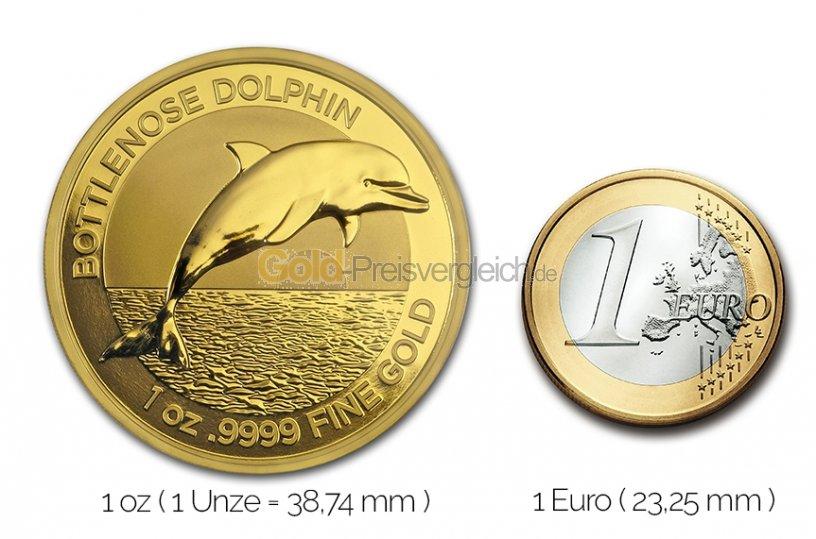 Größenvergleich Bottlenose Dolphin Goldmünze mit 1 Euro-Stück