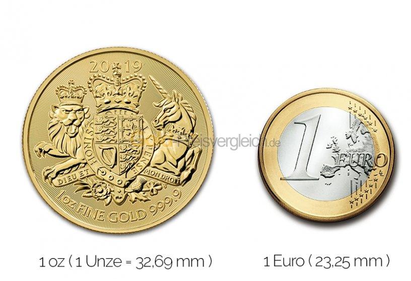 Größenvergleich The Royal Arms Goldmünze mit 1 Euro-Stück