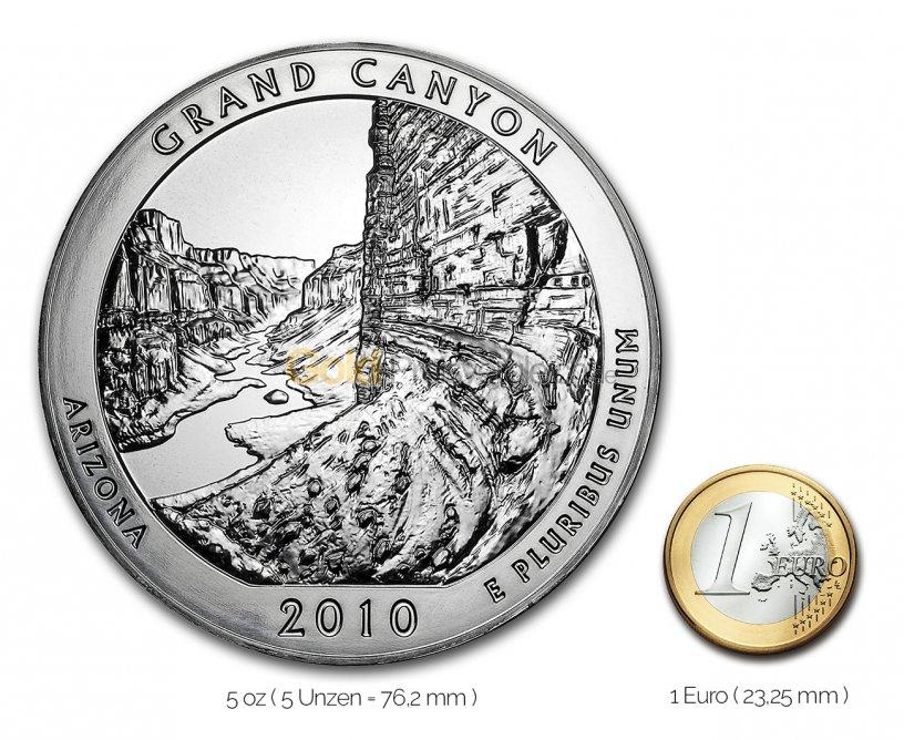 Größenvergleich America the Beautiful Silbermünze mit 1 Euro-Stück