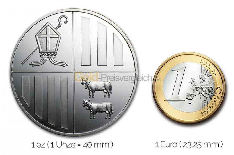 Größenvergleich Andorra Eagle Silbermünze mit 1 Euro-Stück