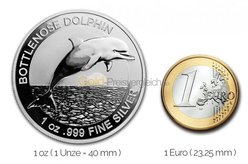 Größenvergleich Bottlenose Dolphin Silbermünze mit 1 Euro-Stück