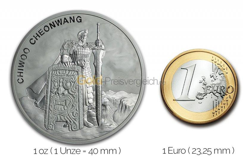 Größenvergleich Chiwoo Cheonwang Silbermünze mit 1 Euro-Stück