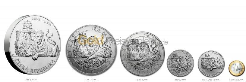 Größenvergleich Czech Lion Silbermünze mit 1 Euro-Stück