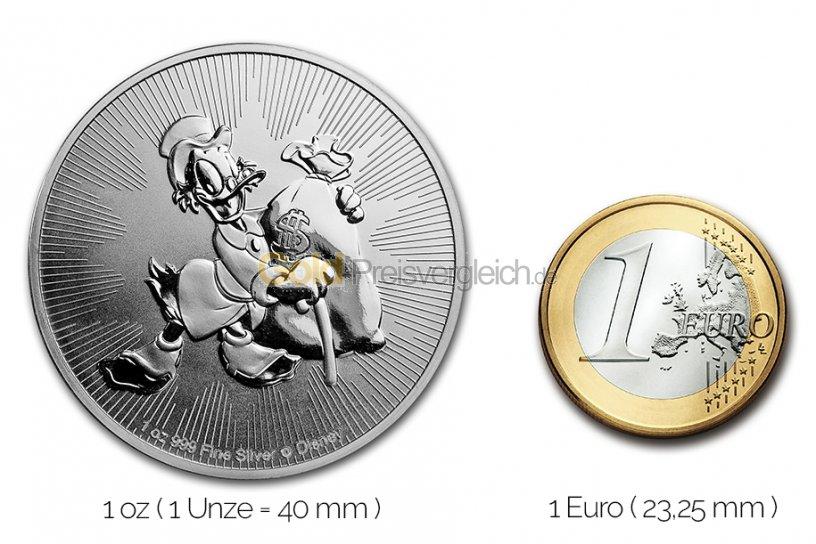 Größenvergleich Dagobert Duck Silbermünze mit 1 Euro-Stück