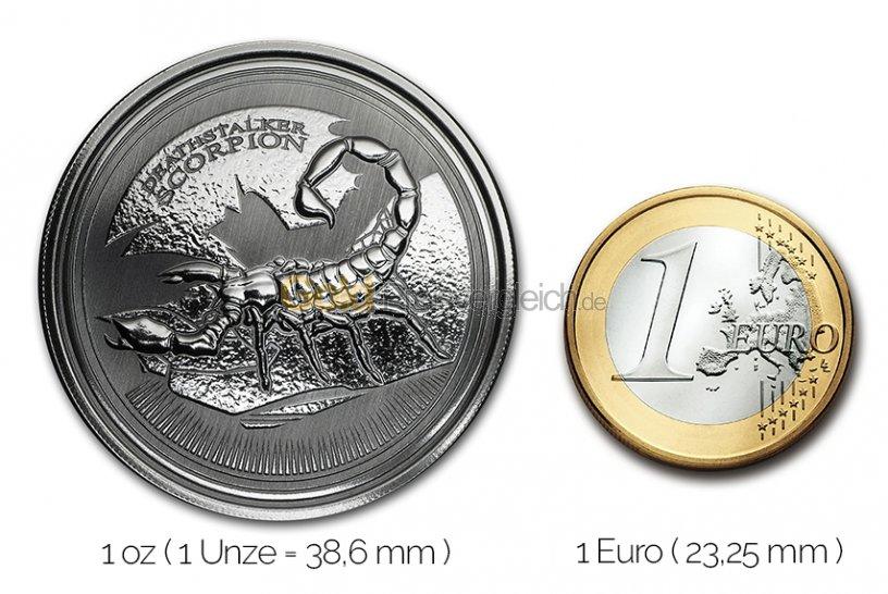 Größenvergleich Deathstalker Scorpion Silbermünze mit 1 Euro-Stück
