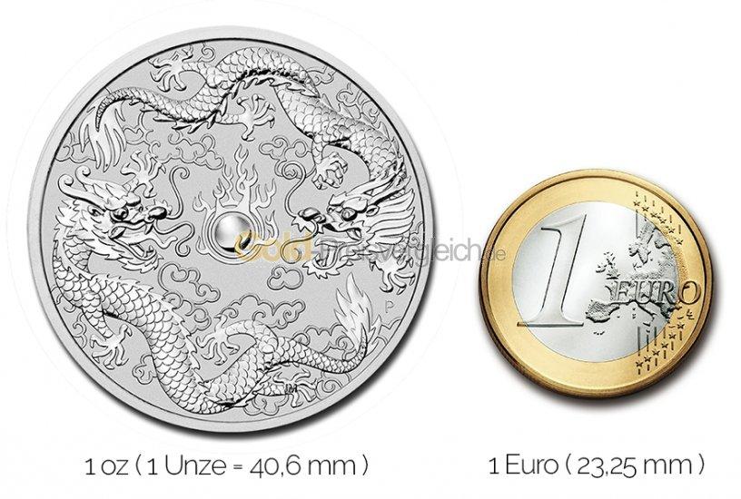 Größenvergleich Double Dragon Silbermünze mit 1 Euro-Stück