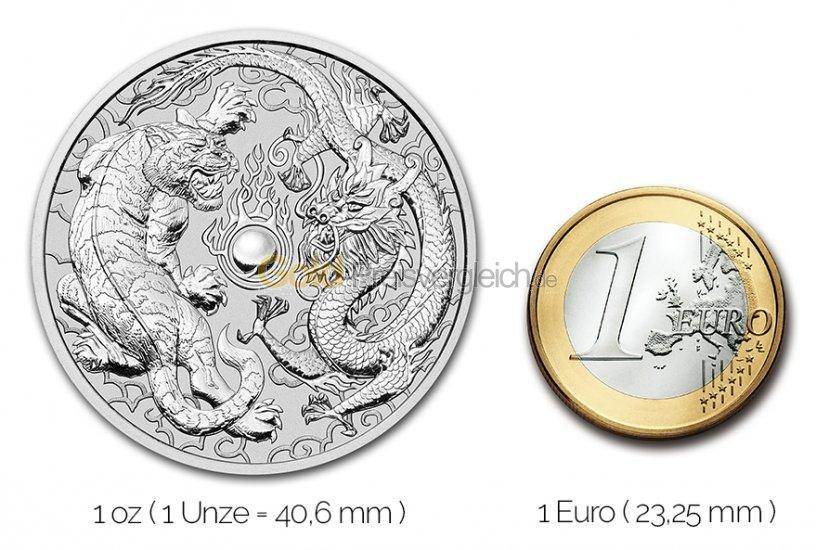 Größenvergleich Dragon & Tiger Silbermünze mit 1 Euro-Stück