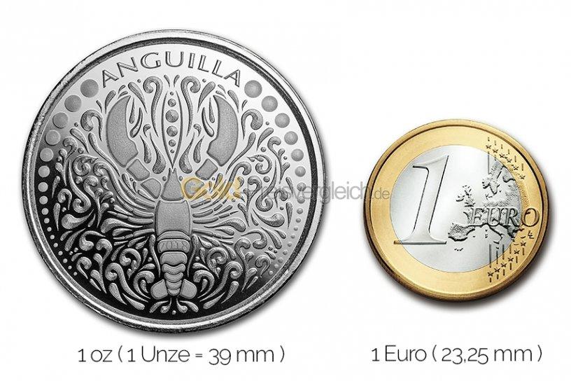 Größenvergleich Eastern Caribbean 8 (EC8) Serie Silbermünze mit 1 Euro-Stück