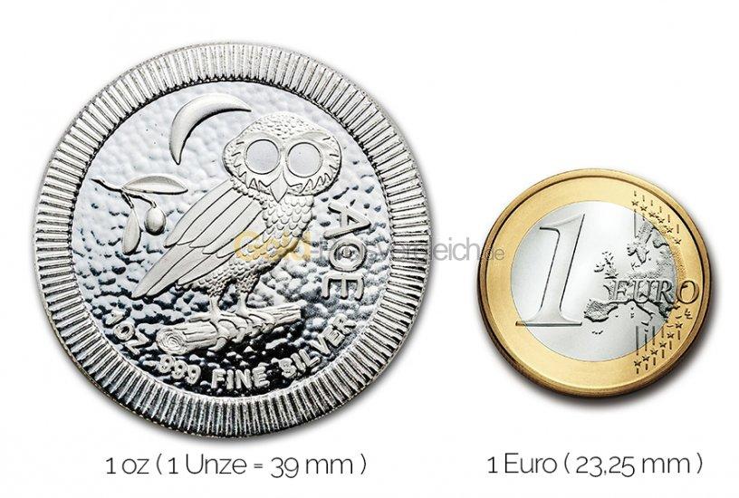 Größenvergleich Eule von Athen Silbermünze mit 1 Euro-Stück