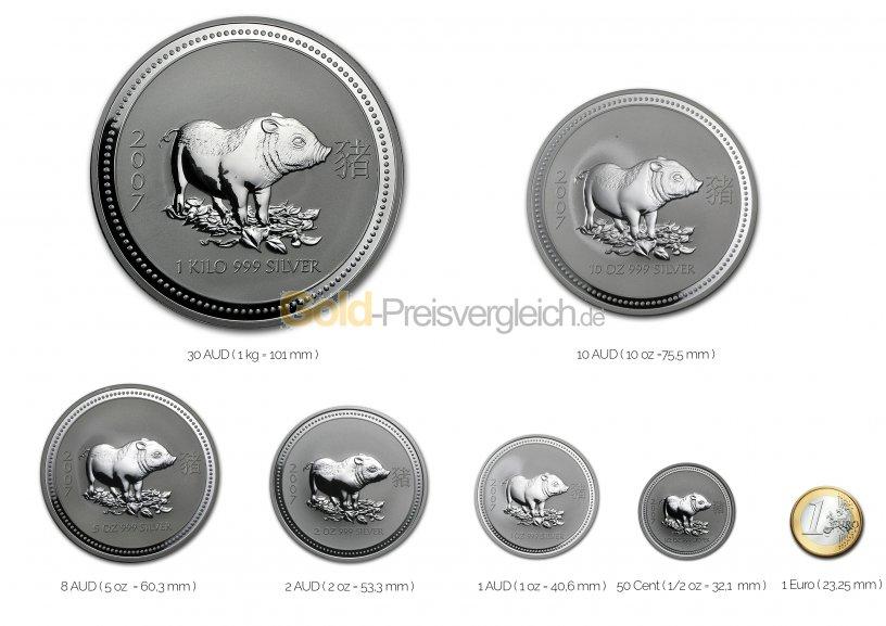 Größenvergleich Lunar Serie I Silbermünze mit 1 Euro-Stück