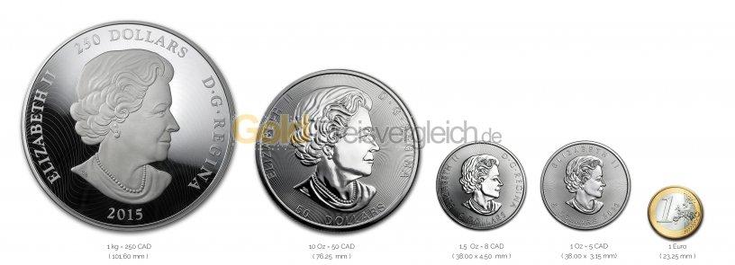Größenvergleich Maple Leaf Silbermünze mit 1 Euro-Stück