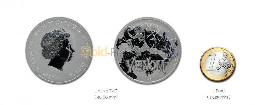 Größenvergleich Marvel Serie Silbermünze mit 1 Euro-Stück