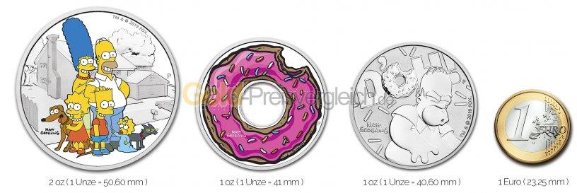 Größenvergleich The Simpsons Silbermünze mit 1 Euro-Stück