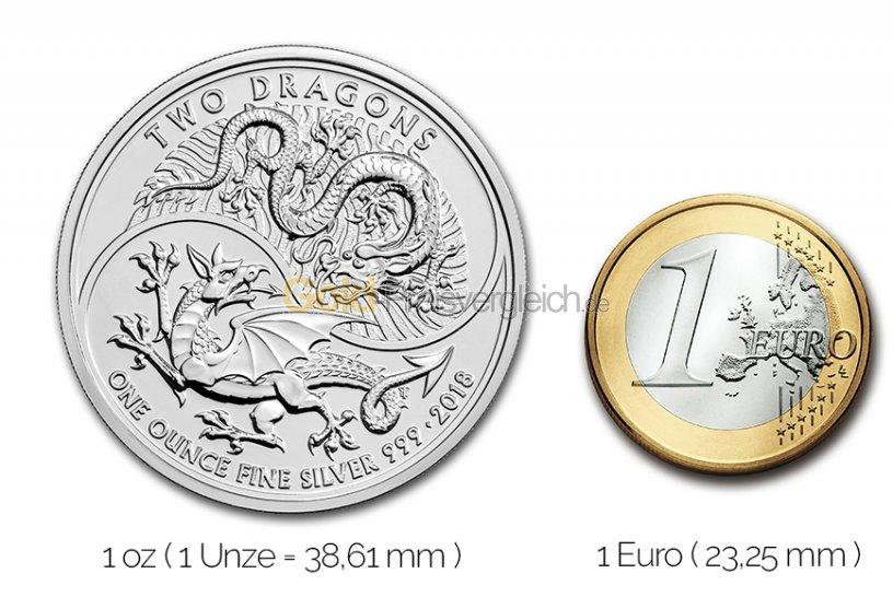 Größenvergleich Two Dragons Silbermünze mit 1 Euro-Stück