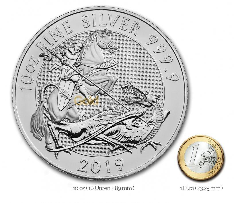 Größenvergleich Valiant Silbermünze mit 1 Euro-Stück