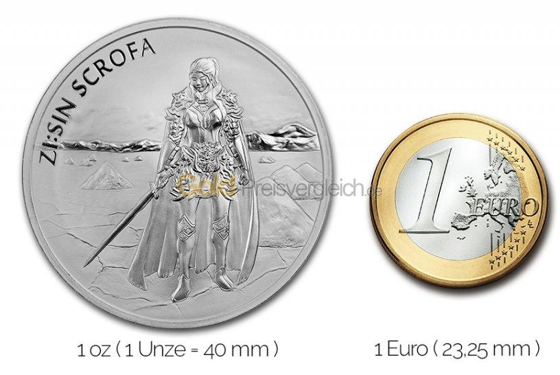 Größenvergleich ZI:SIN Silbermünze mit 1 Euro-Stück