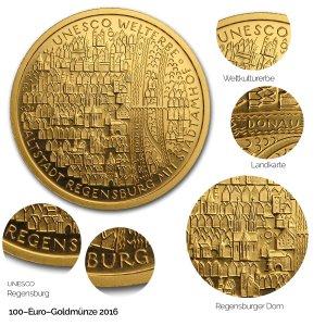 2016 UNESCO Welterbe – Altstadt von Regensburg mit Stadtamhof - Revers