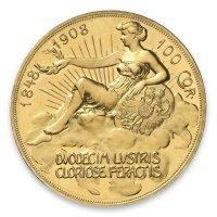 Historische 100 Kronen Goldmünze Avers