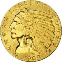 Gold 5 $ American Indian Head (Indianerkopf)